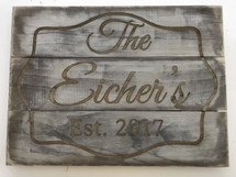 Rustic Family Name Wood Sign Laser Engraved - Custom Colored