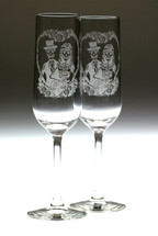 Sugar Skull Couple in Heart Engraved Wedding Champagne Flutes | (Set of 2)