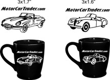 Custom listing for Sarah - SHIP BY 12/7 23 black coffee mugs e-type left art & 7 of the xk140 right art