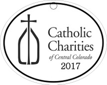 Custom listing for Jennifer - 15 ornaments with Catholic Charities art and Red ribbon