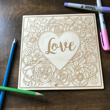 Love Heart surrounded by flowers wood coloring panel