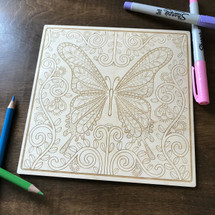 Butterfly Beauty wood coloring panel