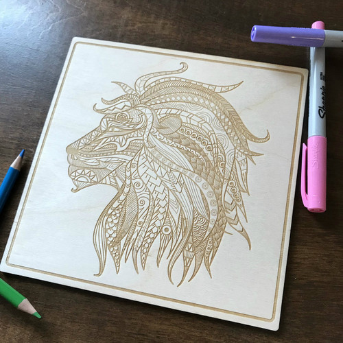 Lion Patterns wood coloring panel