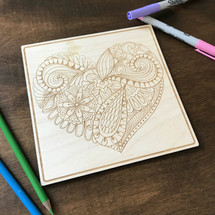 Heart Pattern 1 wood coloring panel