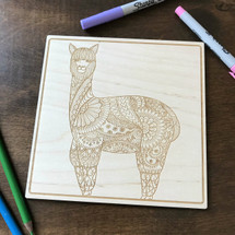 Llama Pattern wood coloring panel