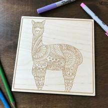 Llama Pattern wood coloring panel