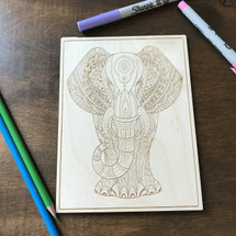 Elephant with Indie Patterns wood coloring panel