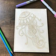 Jellyfish Patterns wood coloring panel