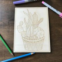 Multi-cactus in pot 2 wood coloring panel