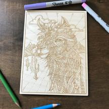 Llama Face wood coloring panel