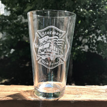 Personalized Fire truck and flag Engraved Pint Glass