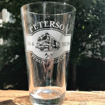 Personalized Firefighter Fire truck Engraved Pint Glass