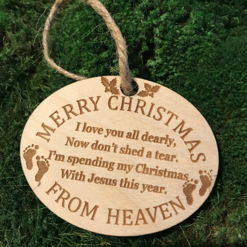 Christmas In Heaven Ornament.Christmas From Heaven With Footprints Wood Ornament Christmas Christmas Ornament