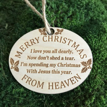 Christmas from Heaven (with Holly) wood holiday ornament
