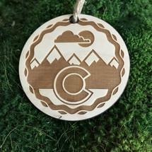 Colorado Snowcaps wood holiday ornament