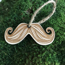 Mustache wood holiday ornament