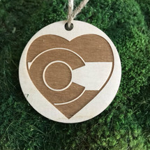 CO heart wood holiday ornament