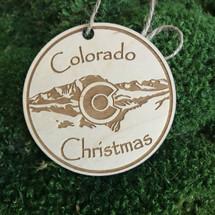 Colorado Christmas wood holiday ornament