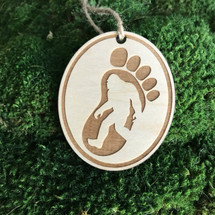 Bigfoot footprint wood holiday ornament