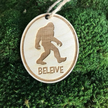Bigfoot Believe wood holiday ornament