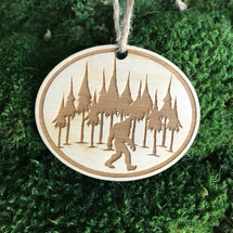 Bigfoot Forrest wood holiday ornament