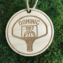 Basketball hoop personalized wood holiday ornament
