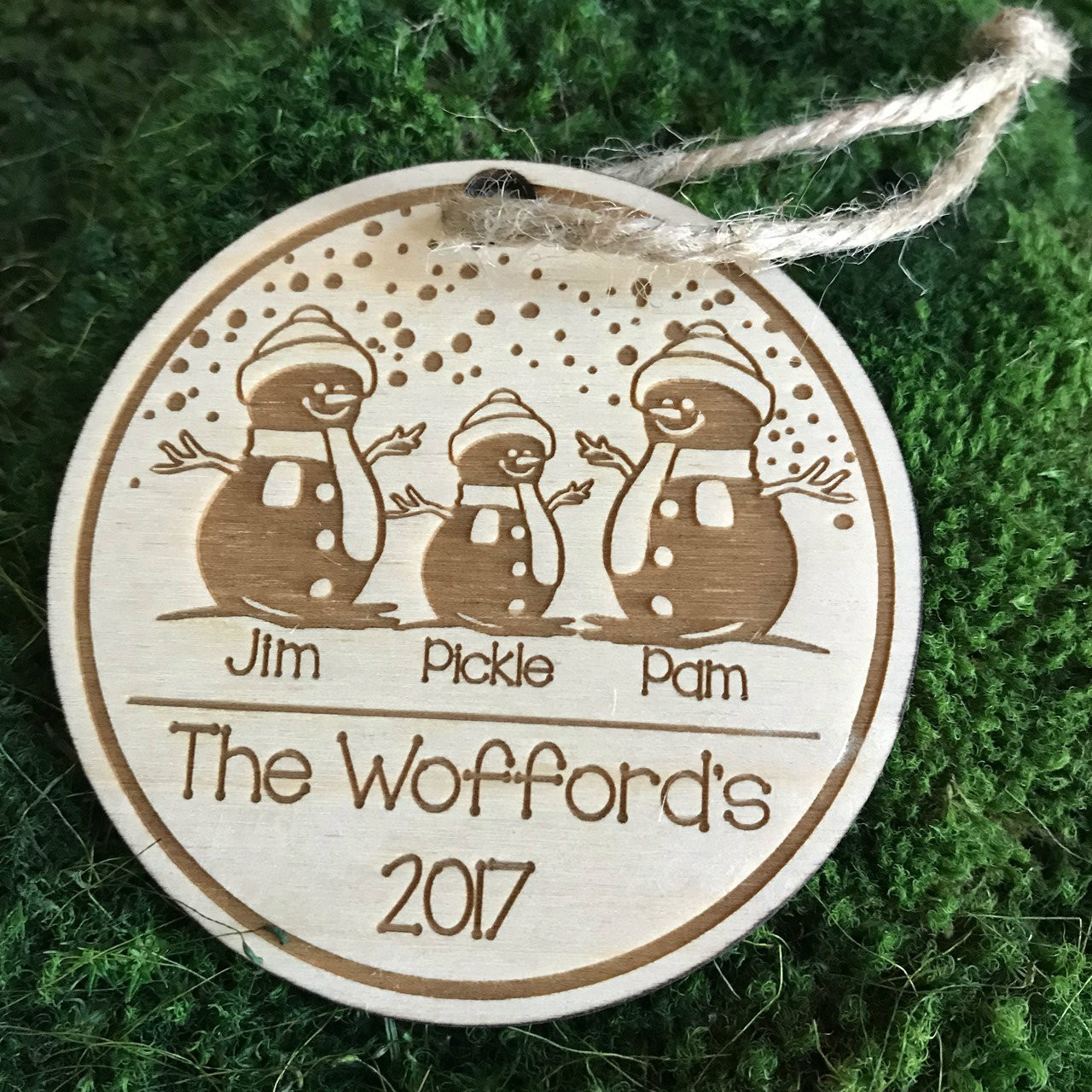 Snowman Family Of 3 Personalized Wood Ornament Christmas Christmas Ornament
