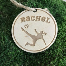 Girl soccer player personalized wood holiday ornament