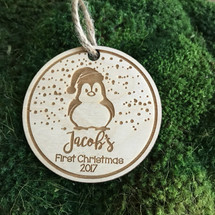 Baby penguin 1st Christmas personalized wood holiday ornament.