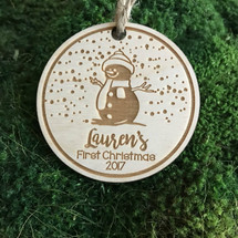 Snowman personalized wood holiday ornament.