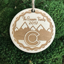 Colorado snowcapped Mountains personalized wood holiday ornament.