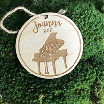 Piano personalized wood holiday ornament