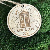 Tardis personalized wood holiday ornament