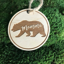 Bear personalized wood holiday ornament