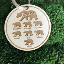 Bear family tree personalized wood ornament personalized wood holiday ornament.