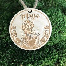 Mermaid personalized wood holiday ornament