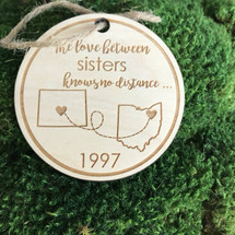 Love knows no distance personalized wood holiday ornament