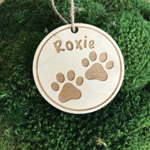 Paw prints personalized wood holiday ornament