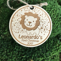 Toy Lion personalized wood holiday ornament.