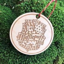 Hufflepuff Crest wood holiday ornament