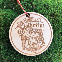 Slytherin Crest wood holiday ornament