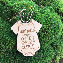 Baby Onsie - Baby's 1st Christmas personalized wood holiday ornament