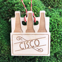 Six Pack of bottles personalized wood holiday ornament.
