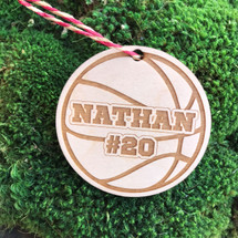 Basketball personalized wood holiday ornament.