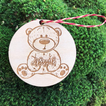 Teddy Bear personalized wood holiday ornament.