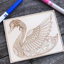 Swan wood coloring panel
