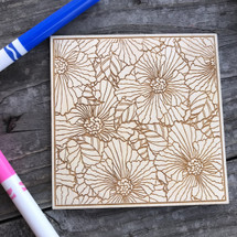 Peonies wood coloring panel