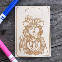 Steampunk Girl wood coloring panel