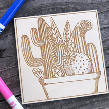 Potted Cactus wood coloring panel