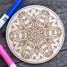Russian Tulip Flower Round wood coloring panel